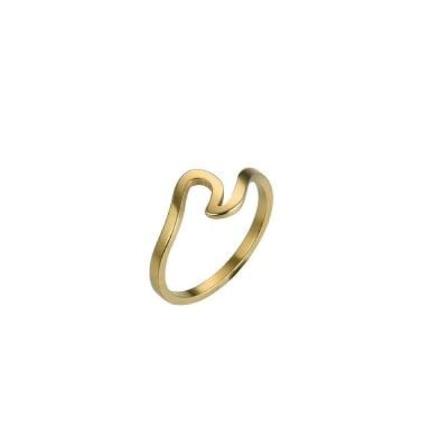 Simple Antique Fashion Wave Ring - 6 / Gold