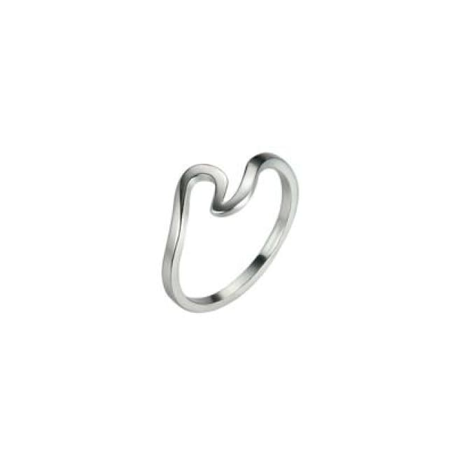 Simple Antique Fashion Wave Ring - 6 / Silver