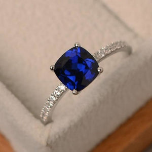 Square Crystal Birthstone Ring - 10 / Blue