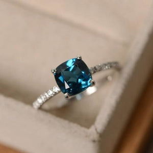 Square Crystal Birthstone Ring - 10 / Blue Green