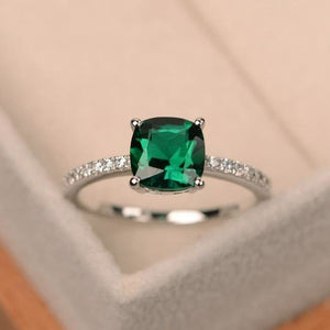 Square Crystal Birthstone Ring - 10 / Green