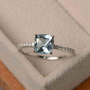 Square Crystal Birthstone Ring - 10 / Light Blue