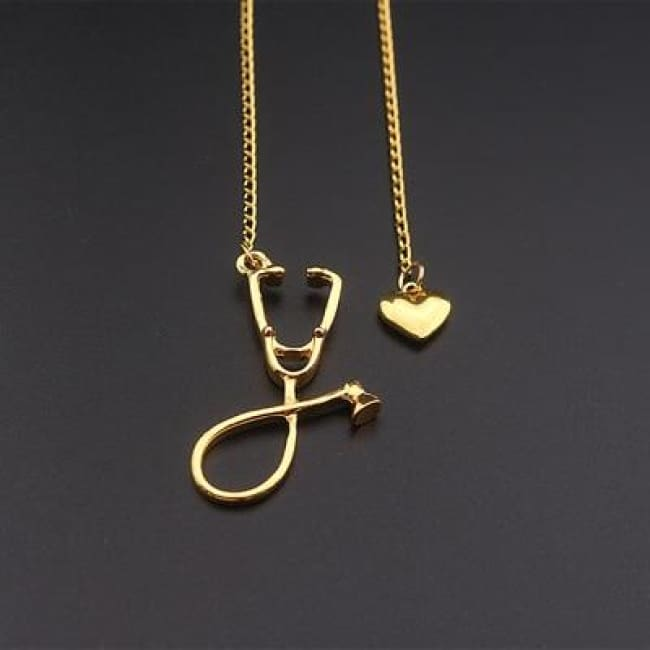 Stethoscope Nurse Necklace - Gold / 50Cm - Pendant Necklaces