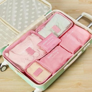 Travel Luggage Organizer (6 Pieces) - Pink