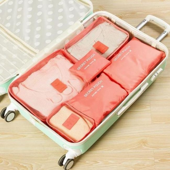 Travel Luggage Organizer (6 Pieces) - Rose