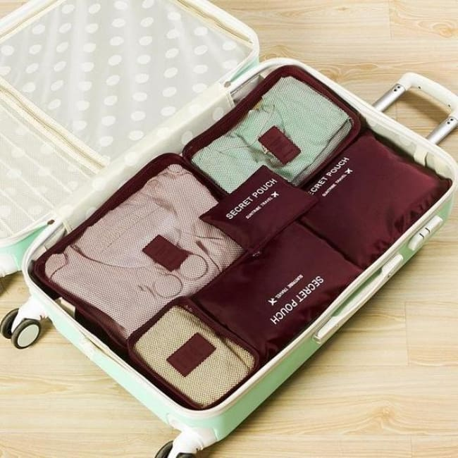 Travel Luggage Organizer (6 Pieces) - Wine Red