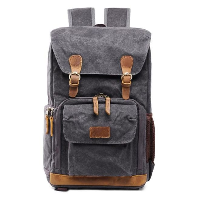 Travel-Ready Canvas Dslr Camera Backpack - Gray - Camera/video Bags