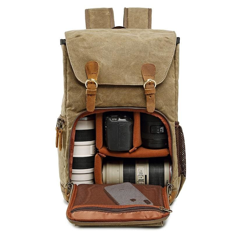 Travel-Ready Canvas Dslr Camera Backpack - Khaki - Camera/video Bags