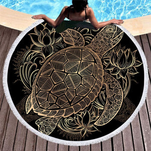 Turtle Round Beach Towel & Tapestry
