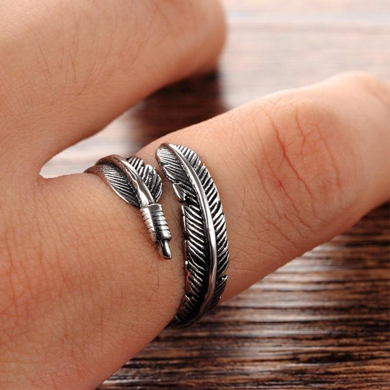 Unique Adjustable Feather Ring
