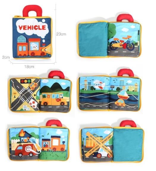 he vehicle cloth book teaches and sparks the children's curiosity about vehicles