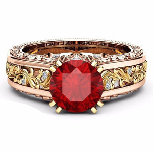 Vintage Round Cut Crystal Ring - 5 / Red