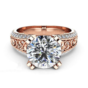 Vintage Round Cut Crystal Ring - 5 / Rose Gold