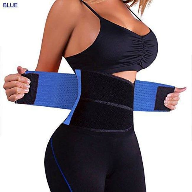 Waist Trainer Sweat Belt Postpartum Belly Fat Trimmer Band - Blue / S - Waist Cinchers
