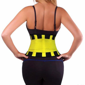 Waist Trainer Sweat Belt Postpartum Belly Fat Trimmer Band - Yellow / S - Waist Cinchers