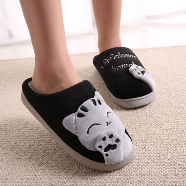 Warm Winter Cat Slippers - Black / 11