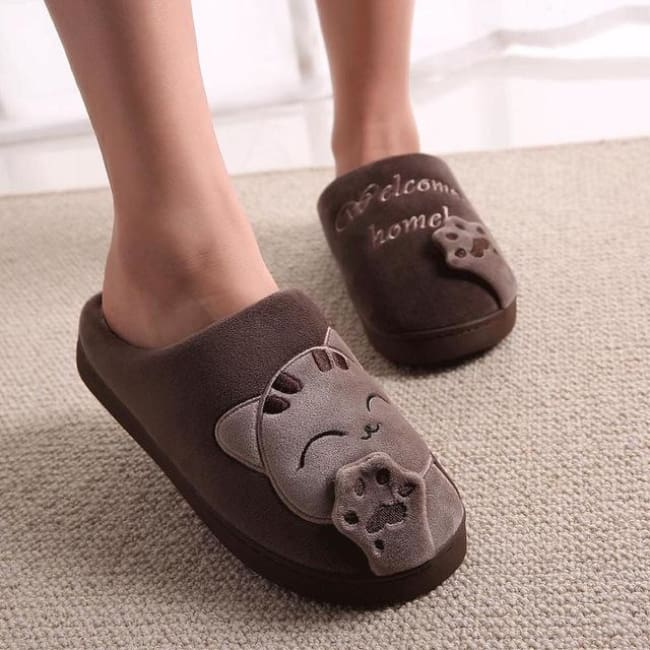 Warm Winter Cat Slippers - Brown / 11