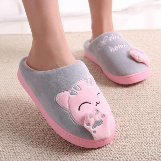 Warm Winter Cat Slippers - Gray / 11