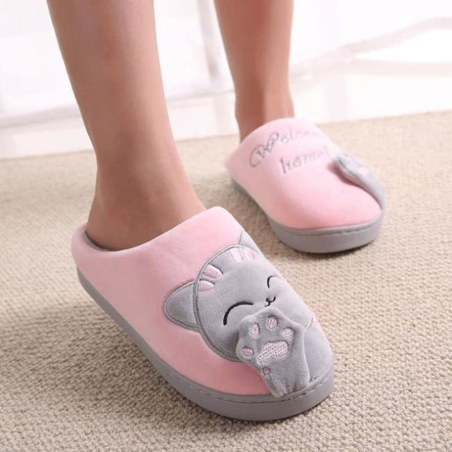Warm Winter Cat Slippers - Pink / 11