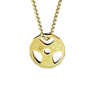Weight Plate Necklace - Gold Plated - Pendant Necklaces