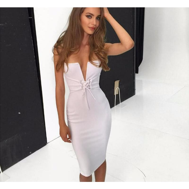 Womens Spaghetti Strap V Neck Lace-Up Bodycon Dress - Dresses