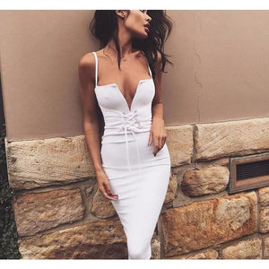 Womens Spaghetti Strap V Neck Lace-Up Bodycon Dress - White / S - Dresses