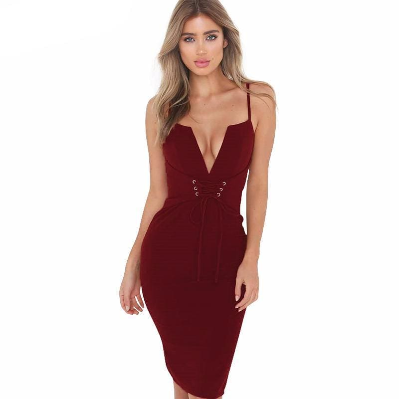 Womens Spaghetti Strap V Neck Lace-Up Bodycon Dress - Wine Red / S - Dresses