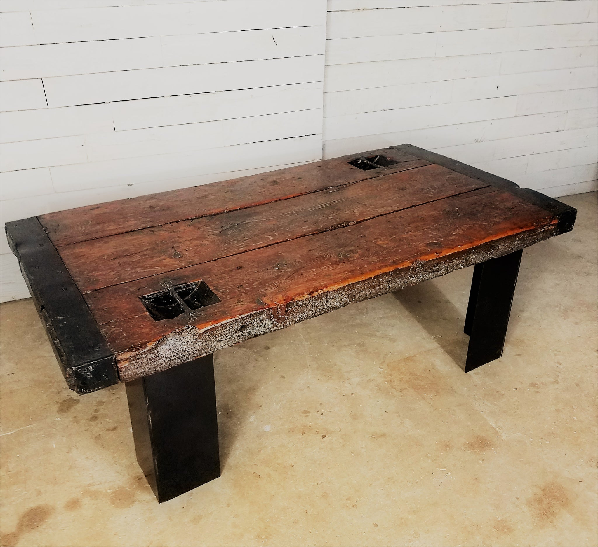 Reclaimed Wood Coffee Table with Metal Base – Reclaimed Style