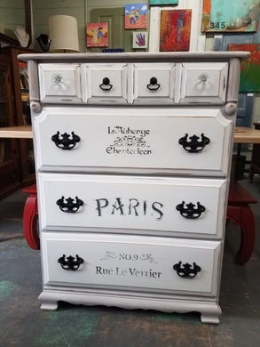 Tall Gray and White Hand-Painted Dresser