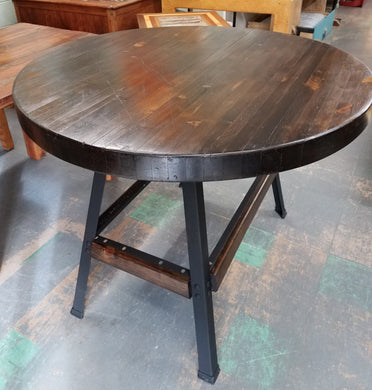 Round Ash Wood Table with Metal Base
