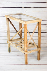 Glass Top Pine Side Table