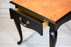 Hand-Painted Orange Floral Side Table