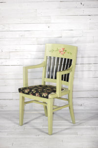 Hand-Painted Green Floral Chair