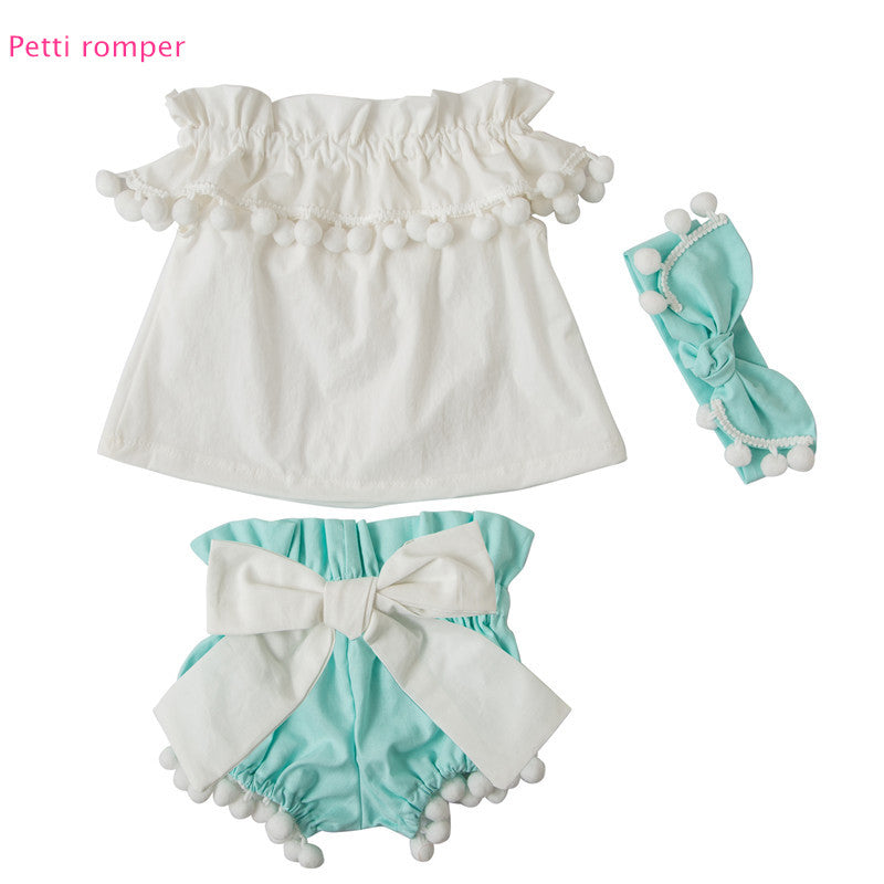 b3a2b863c91d Pompom off the shoulder shirt and bloomers w  headband 6-12mo 2t-4t
