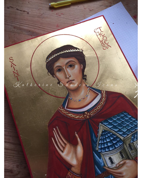 Saint Etheldreda (Aethelfryth) Audrey: handpainted icon