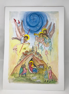 Nativity Icon A2 Giclee print Ltd Edition Colour version