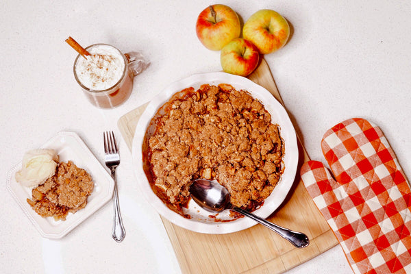 Apple Crisp served, with hot chocolate and vanilla ice cream