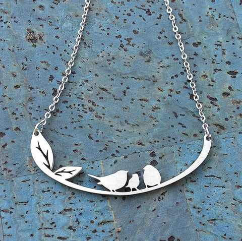 stainless steel bird necklace