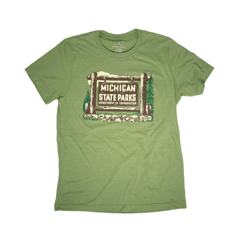 Heather Green T-shirt with 1961 State Park Permit Sticker printed on front.