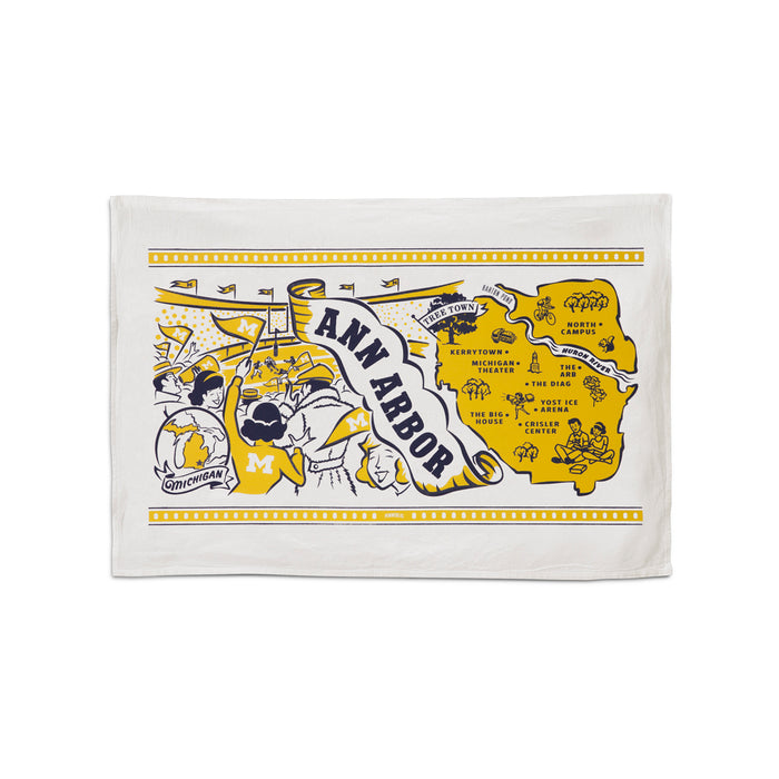 "This 24""x16"" 100% cotton flour sack towel has images and landmarks from Ann Arbor silk screened on it."