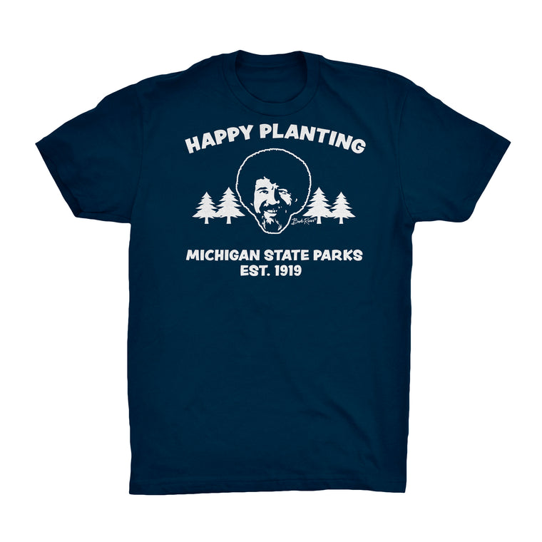 Bob Ross Michigan DNR T-Shirt - Navy