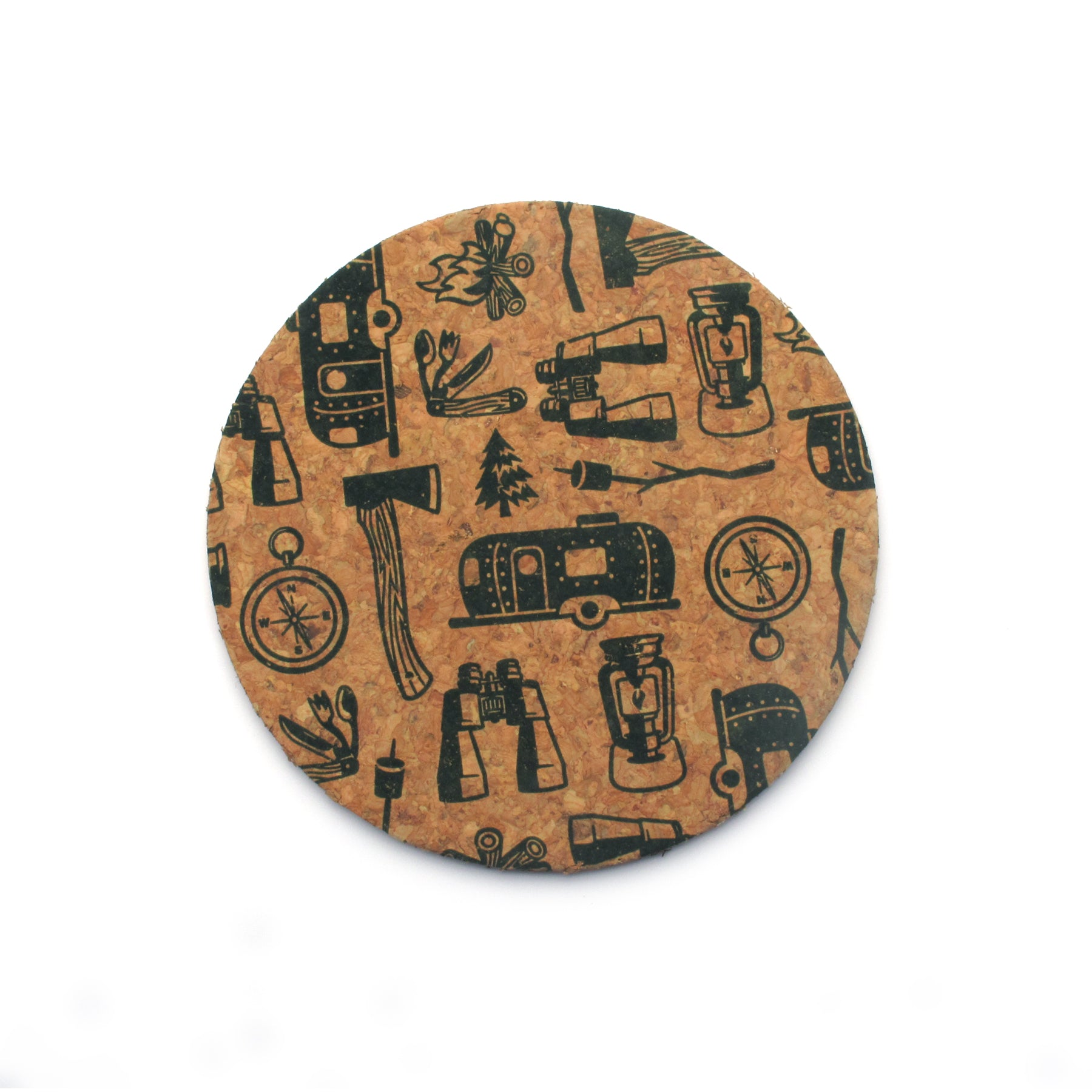 Camping Icons Cork Coasters - Set of 6