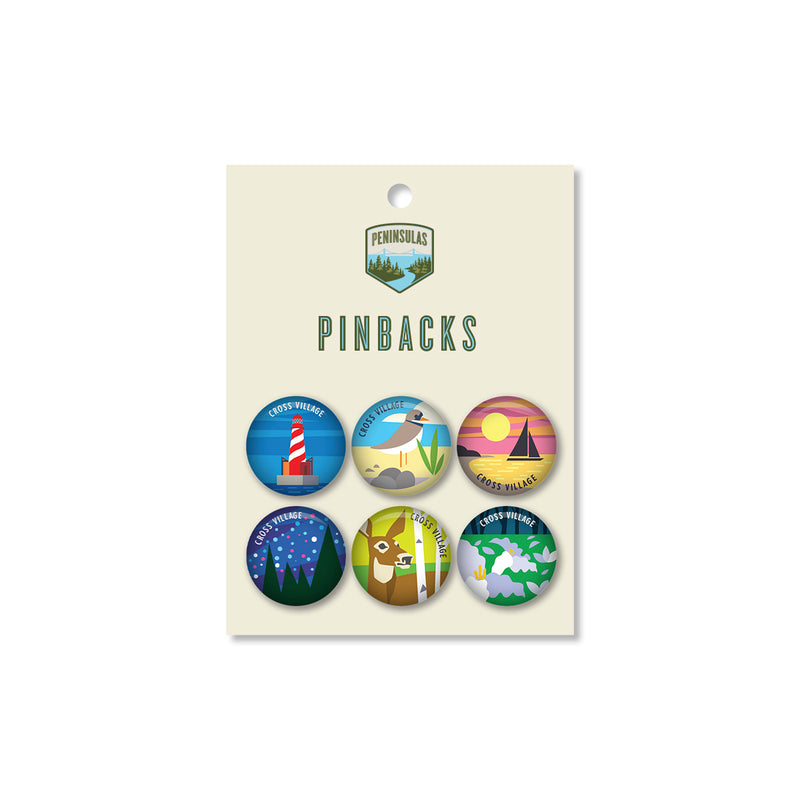 Cross Village Postcard Pinback Set (Set of 6)