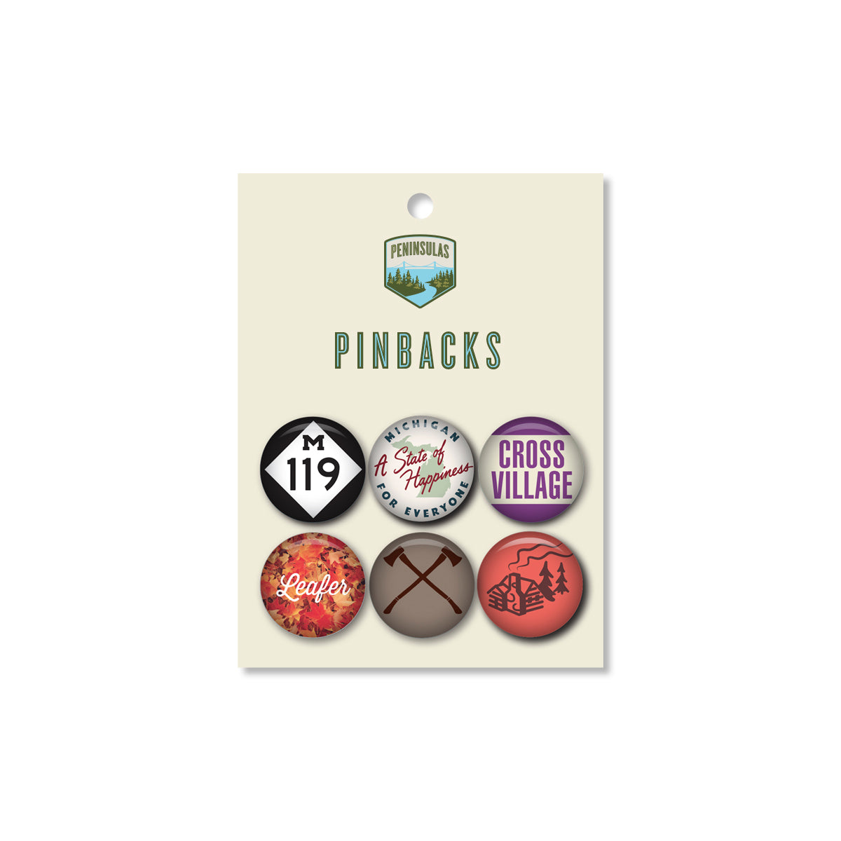 Cross Village Pinback Set #1 (Set of 6)
