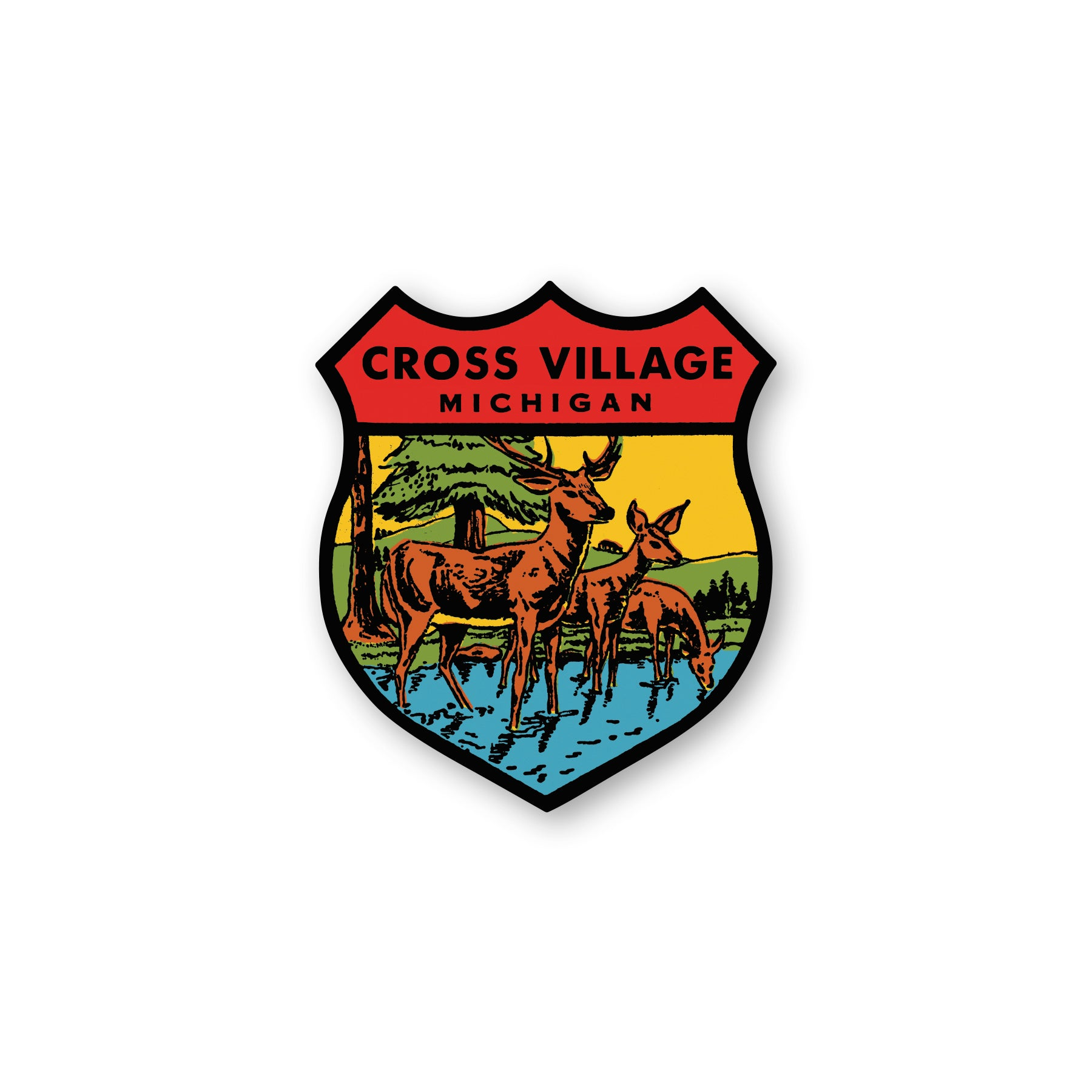 Cross Village Shield Deer Sticker