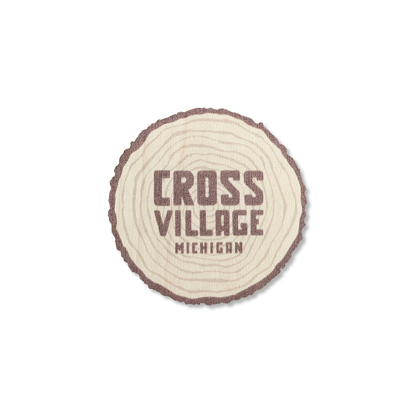 Cross Village Log Wood Sticker
