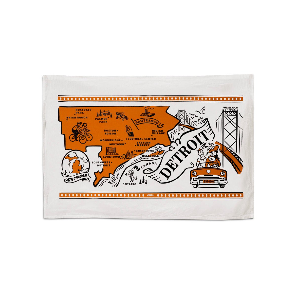 "This 24""x16"" 100% cotton flour sack towel has images and landmarks from Detroit silk screened on it."