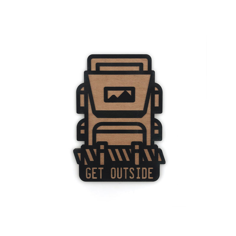 """Get Outside"" Backpack Wood Magnet"