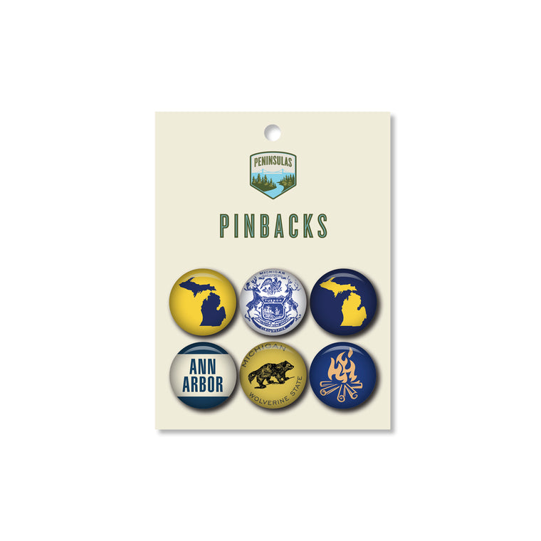 Go Blue! Pinback Set (Set of 6)