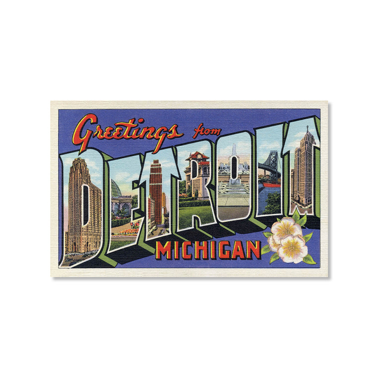 Greetings from Detroit, Blue Postcard